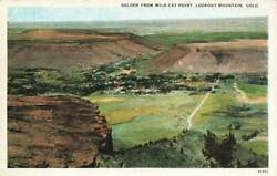 Golden From Wild Cat Point Lookout Mt Panorama View WB Colorado CO VTG P102