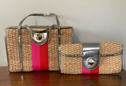 Vintage Kate Spade Natural Straw Bag/tote And Clutch Set Silver, Pink And Red
