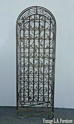 Vintage Spanish Style Black Wrought Iron Wine Rack With A Door And Lock 58 Bottles