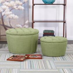Lacey Milford Grass Tufted Storage Ottoman Set By Osp Home Furnishings