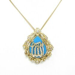 Nyjewel 18k Gold Natural Turquoise 1.8ct Diamond Pin Pendant Necklace 20.3g
