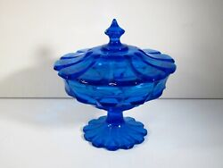 Fenton Colonial Blue Art Glass Valencia Pattern Footed Candy Dish W/ Lid