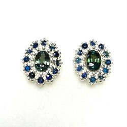 Natural Teal Sapphire 925 Silver 9ct 14ct 18ct 14k 18k Gold Platinum Earrings
