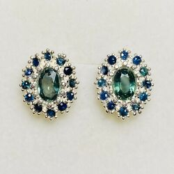 Natural Teal Blue Sapphire 925 Silver 9ct 14k 18k Gold Platinum Earrings