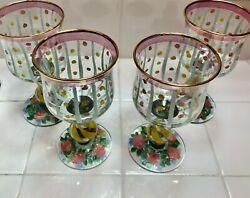 Mackenzie Childs Wine Water Glasses Pink Rose Goblets Handpainted Set 4 Signed