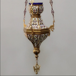 Christian Orthodox Gold Plated Enamel Hanging Vigil Oil Lamp With Chain