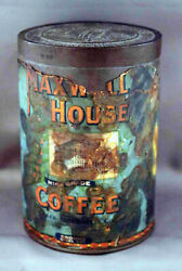 Antique One-pound Paper Label Maxwell House Metal Coffee Can W/twist Lid