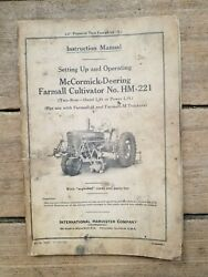 1941 Instruction Manual For A Mccormick Deering Farmall Cultivator No. Hm-221
