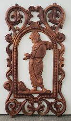 19th Century English Victorian Cast Iron Woman Warming Hands Over Fire Plaque