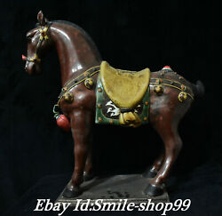 20'' Old Chinese Wucai Porcelain 12 Zodiac Animal Steed Horse Horses Statue
