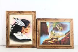 Set Of 2 Tribal Style Art Paintings Native American Woman Indian Wolf 17x14 Each