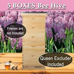 Upgraded Langstroth 5 Boxes Beehive Honey Bee Hive W/metal Roof And Queen Excluder