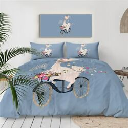 Floral Spring Llama Bike Animal King Queen Twin Quilt Duvet Pillow Cover Bed Set
