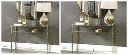 Two Henzler 45 Aged Gold Leaf Iron Sofa Console Table Glass Shelf Mirror Top