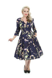 Hearts And Roses Blue Floral Bird Vintage Retro 1950s Flared Tea Rockabilly Dress