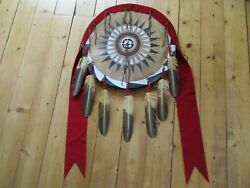 Native American Ceremonial Leather Shield Painted Black War Bonnet Sd-03693