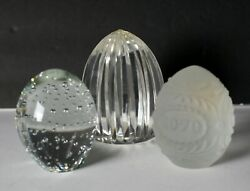 3pc Assorted Vintage Art Glass Crystal Paperweights Egg Oval Goebel Bubble Cut