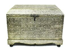 Chest Large Old Fashioned Authentic Moroccan Trunk Cedar Wood Storage Box Silver