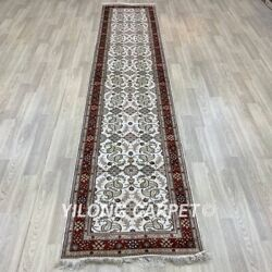 Yilong 2.5and039x12and039 Handknotted Silk Hallway Rug Runner Kitchen Gallery Carpet Y282b