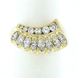Vintage 18k Yellow Gold 1.40ctw Graduated Marquise And Round Cut Diamond Band Ring