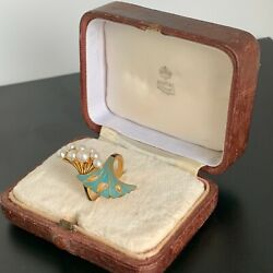 Antique Russian Faberge 14k Gold Blue And Black Enamel 8 Pearls Ladies Ring