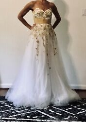 Jovani 81120 Authentic White Beaded Floral Bridal Evening Women Party Gown 4 $50.00
