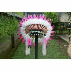 Warbonnet Swan Small White Fur Pink Native American Hat Gift Indian Headdress