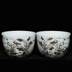 2.9and039and039 China Antique Cup Five-colored Porcelain Cup Old Pottery Tea Cup Hxcc