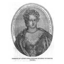 Portrait Of Queen Anne Composed Of Minute Writing - Antique Print 1860