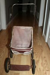 Antique Vintage Red Leather Metal Rubber Wheels Baby Doll Buggy Stroller