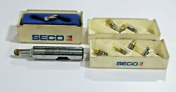 Seco Mm08-0.62-3.0-3-3004 Mini Milling Toolholder And 10 New Inserts  D412