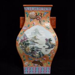 12.7and039and039 China Antique Vase Five-colored Porcelain Vase Pottery Bottle Hxcc