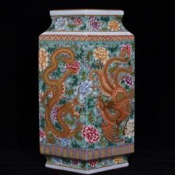 14and039and039 China Antique Vase Five-colored Porcelain Vase Pottery Bottle Hxcc