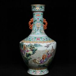 13.6and039and039 China Antique Vase Five-colored Porcelain Vase Pottery Bottle Hxcc