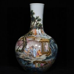 13.2and039and039 China Antique Vase Five-colored Porcelain Vase Pottery Bottle Hxcc