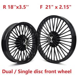 Gloss Black 21x2.15 18x3.5 Tubeless Wheels Set For Softail Fxst Dyna Wide Glide