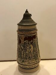 Vintage German Pottery Beer Stein Horse -rider Playing Bugle St66