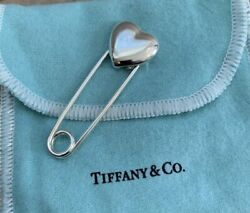 And Co. Sterling Silver Heart Baby Safety Diaper Lapel Pin In Pouch And Box