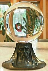 Massive 8, Antique, Crystal Ball W/art Deco/nouveau Stand - Stunning Magical