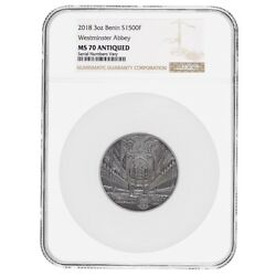 2018 Benin 3 Oz Silver Westminster Abbey Antiqued Coin Ngc Ms 70