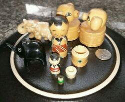 Collection Of Vintage Asian Toys Knick-knacks Elephants Wooden Nesting Doll Pig