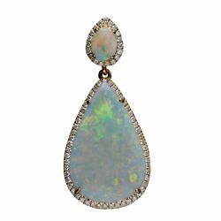 4.5cts Natural Australia Solid Opal 0.288cts Diamond 9k Gold Pendant 15.2ct 227