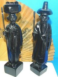 2 Vintage Asian Hand Carved Oriental Old Man Wooden Figure Statues Wood
