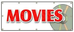 Movies Banner Sign Theatre Motion Picture Cinema Watch Popcorn Flick