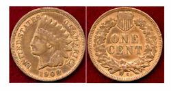 1908-s 1c- Mint Color-4 Diamonds Are Complete On The Ribbon-indian Head Cent++