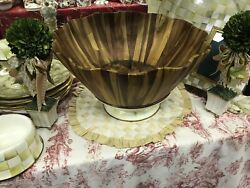 Mackenzie-childs Parchment Check Huge Acacia Wood Serving Bowl - Rare And Htf