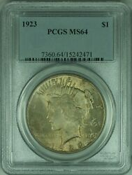 1923 Peace Silver Dollar 1 Coin Pcgs Ms-64 Nice Overall Toning 34-f