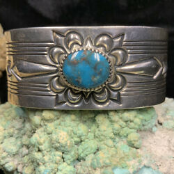 """Beautiful Navajo """"gibson Nez"""" Sterling Silver And Bisbee Turquoise Bracelet 76.4g"""
