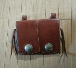Red Moon Medicine Bag Purse Case Leather Brown Redmoon Motorcycle Bike F/s