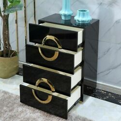 Newly Black And Gold 4-drawer Accent Chest Dresser Storage Cabinet For Bedroom Us
